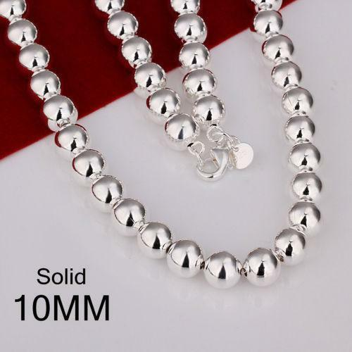 Sterling Silver 10mm Bead Necklace Ebay