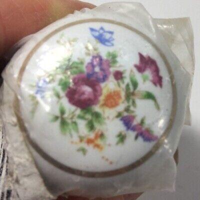 White Flowered Cabinet Pull Knob Ceramic 1.5