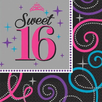 HAPPY BIRTHDAY Sweet 16 LUNCH NAPKINS (16) ~ Party Supplies Serviettes Dinner