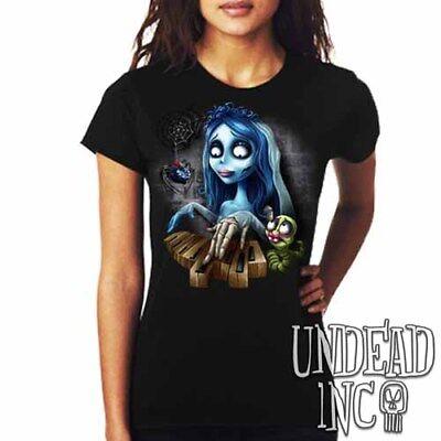 Corpse Bride Maggot Black Widow Piano - Ladies T Shirt Tim Burton