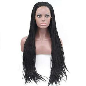 Braided Lace Front Wig Fully Hand Tied Synthetic Box Braids