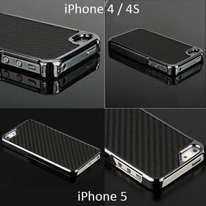 LIMITED CHROME CARBON FIBRE STYLE CASE COVER FITS iPHONE 4 4S & iPHONE 5 5G