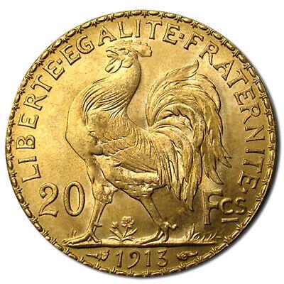 20 Francs France Gold Coin - Rooster (BU) - Gold 20 Francs Rooster Coin