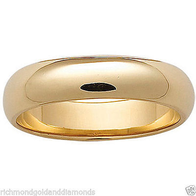 14K Solid Yellow Gold 7mm Size 7 Plain Men and Womens Fit Wedding Band Ring 7 MM