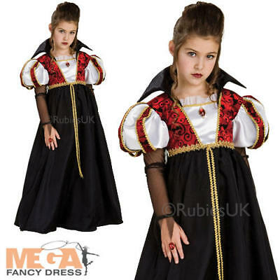Royal Vampira Girls Fancy Dress Tudor Vampire Princess Kids Halloween Costume