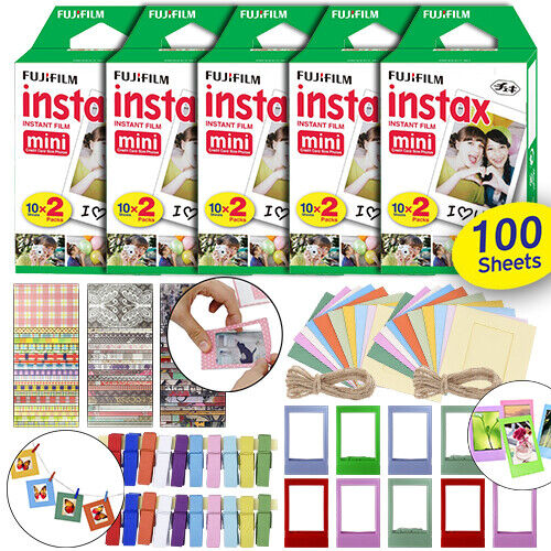 Fujifilm Instax Mini Instant Film Fuji 100 Sheets + Frames & Accessory Décor Set
