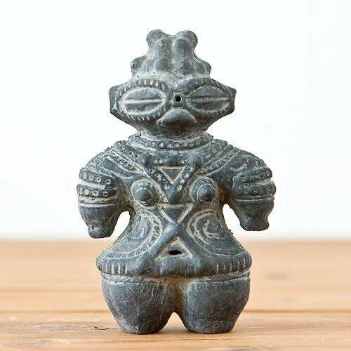 Dogu Jomon period Clay statue Earthen figure Doll Image Ancient Black 11.7cm F/S
