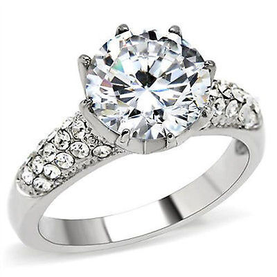Round CZ Engagement Ring Stainless Steel 3.87 CTW Solitaire Ring Pave Accents