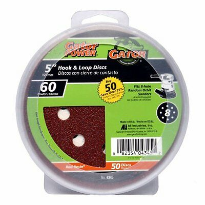 Ali Industries 4345 8 Hole Hook And Loop 60 Grit Disc  5 Inch  50 Pack