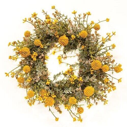 "New Farmhouse Primitive YELLOW MUSTARD EUCALYPTUS FLORAL CANDLE RING Wreath 6"""