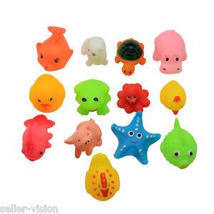 13 Mini Squeaky Bath Toys Animal Ocean Water Play Fun Kids