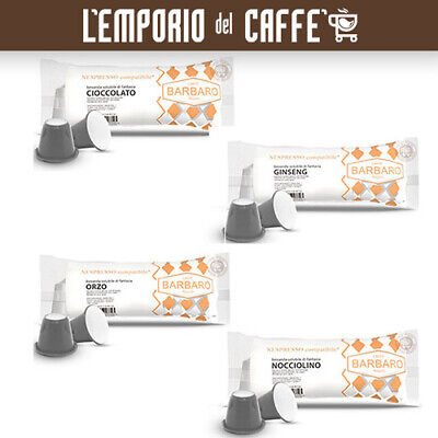 100 Cápsulas Soluble Café Barbaro nespresso: Chocolate, Pozo Oliva, Ginseng,