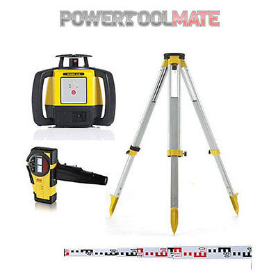 Leica Rugby 610 Outdoor Rotary Laser Level Kit with Staff and Tripod - 812618