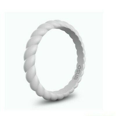Enso Ring Braided Stackable Silicone Ring in Misty Gray size 6