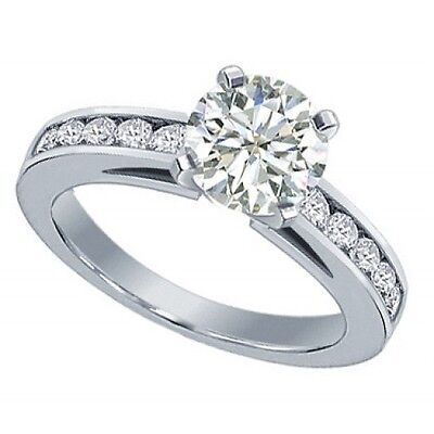 1.50 Ct Ladies Round Cut Diamond Engagement Ring In Channel Setting 14 Kt Gold - $4,399.00