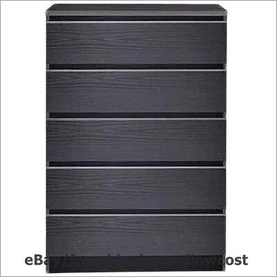كومودينو جديد Bedroom Furniture Laguna 5 Drawer Chest of Drawers Dresser Modern Wood Black NEW