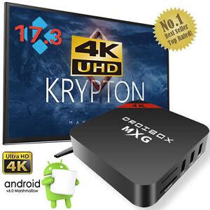 2017 MXG Quad Core Android TV Box 4K K 17.3 Ultra HD Pro-Media Player Streamer