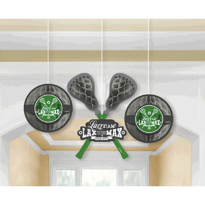 LACROSSE Spirit Squad HONEYCOMB DECORATIONS (3) ~ Birthday Party Supplies Green (Lacrosse Decorations)