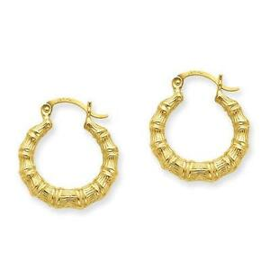 14k Gold Bamboo Earrings