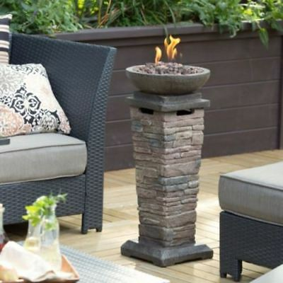 Outdoor Fire Bowl Column Propane Gas Deck Patio  Fireplace Resin Stone -