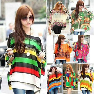 Women-Boho-Print-Loose-Batwing-Dolman-Sleeve-Top-Oversize-Chiffon-Blouse-T-Shirt