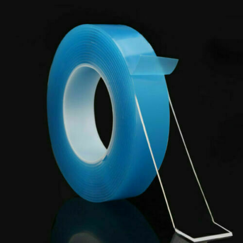 MAGIC Double sided Grip Tape Washable Traceless Adhesive Tape Nano Invisible Gel Blue2mm*3cm*5M
