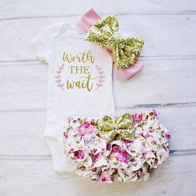 3PCS Cute Newborn Baby Girl Outfits Clothes Tops Romper+Tutu Shorts Pants Set US](Short Girl Outfits)