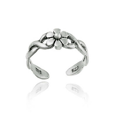 .925 Sterling Silver Braided Daisy Flower Toe Ring