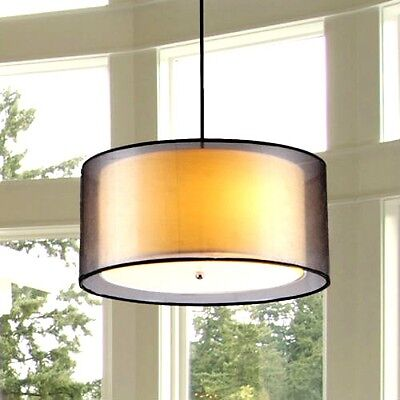 Chandelier 3 Light Drum Fabiola With Black Outer Drum Ceiling Fixture MODERN   ()