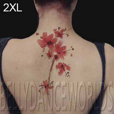 (Amazing watercolor cherry blossom branch sakura flower floral temporary tattoo)