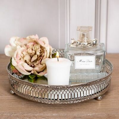 Silver Mirrored Tray Ornate Wedding Table Center Candle Plate Round Chic Gift
