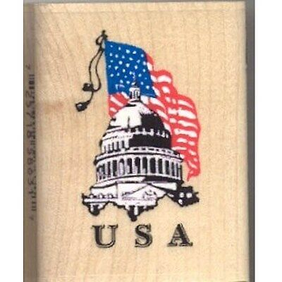 Rubber Stamp Inkadinkado Usa Capital America Patriotic Flag 8631