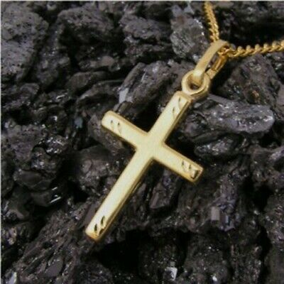 Kleiner Kreuz Anhänger Gold 333 Kettenanhänger diamantiert Frauen Herren neu (Gold Ketten Frau)