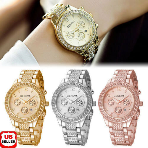 $4.98 - Geneva Luxury Women's Girl's Crystal Stainless Steel Quartz Analog Wrist Watch 1