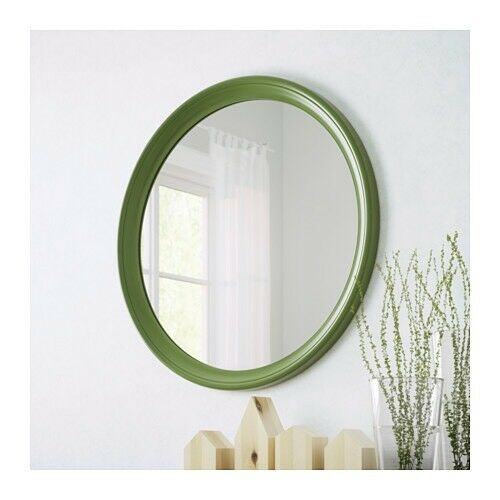 New Ikea Stabekk Round Mirror In Green Wooden In Worthing