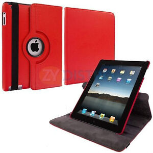 RED 360 ROTATING PU LEATHER CASE COVER WITH STAND FOR IPAD AIR