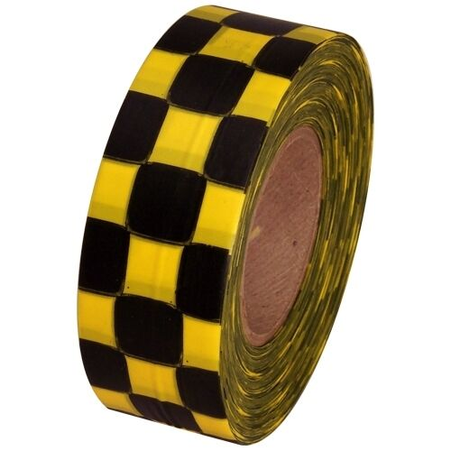 """Yellow and Black Checkerboard Flagging Tape 1 3/16"""" x 300 ft Roll Non-Adhesive"""
