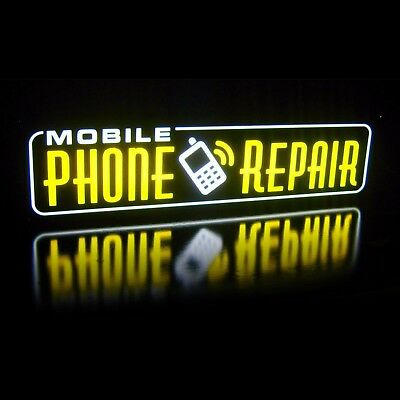 New Led Mobile Phone Repair Yellow Smart Iphone Cell Sign Light Box Neon Alt