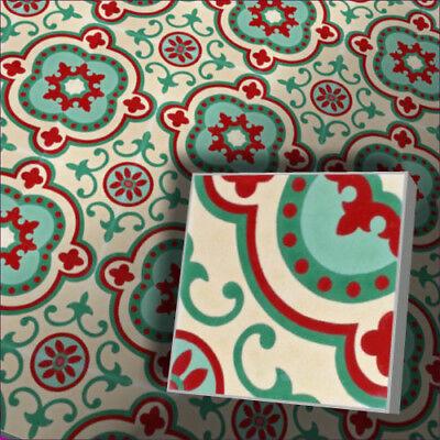 Creme Bodenfliese (1e Zementfliese orientalische Radia 451_4 grün rot cremeweiß Bodenfliese Vintage)