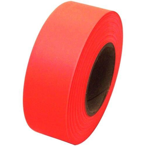 "Fluorescent Orange Flagging Tape 1 3/16"" x 150 ft Roll Non-Adhesive"