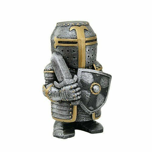 4.5 Inch Armored Medieval Knight with Sword and Shield Statue Figurine