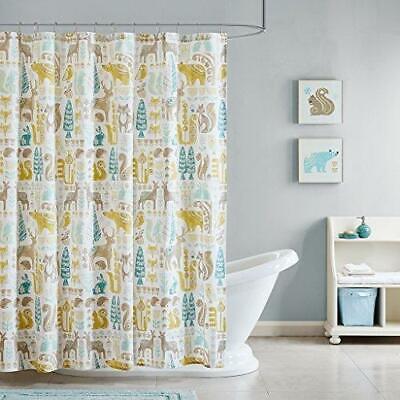 INK+IVY Kids Woodland Cotton Shower Curtain 72x72 Aqua