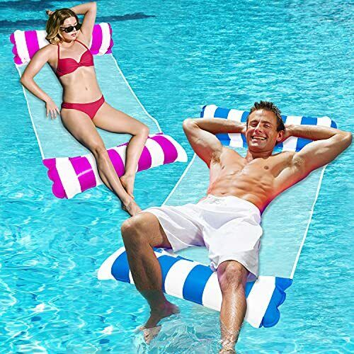 Inflatable Pool Floats for Adults 2 Packs Swimming Water Hammock Pool Floats