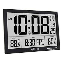 QUIGO Atomic Wall Clock Digital Alarm Extra Large Big Display 17in black
