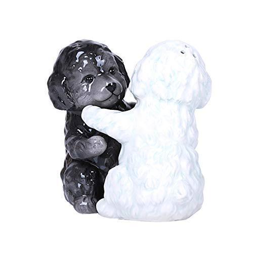 Black White Maltese Dog Hugging Peace Magnetic Ceramic Salt  Pepper Shakers