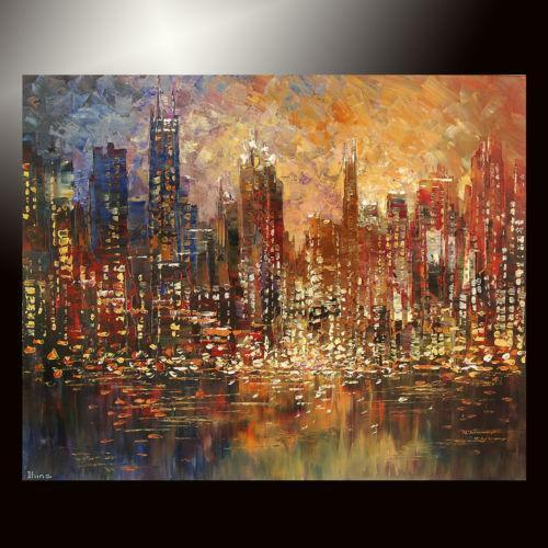 Canvas Painting Of Chicago Skyline