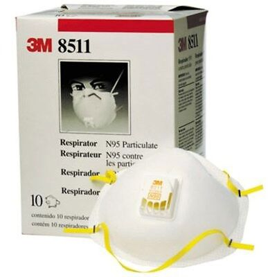 3M 8511 Particulate N95 Respirator MASK FILTER Valve CARTON 10 Fire Smoke DUST