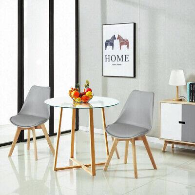 Pack 2/4 sillas escandinava Estilo con Mesa Redonda de Cocina Mesa de Cristal
