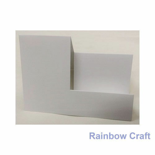 10 Blank Cards & Envelopes / Scallop Edge / step card / DL / Horizontal / Swing - Smooth Step Card