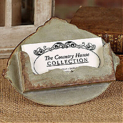 New Primitive Farmhouse Vintage Business Card Holder Rustic Metal Stand